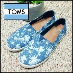 Tom's Tropical Island Silver Print Slip On Shoes